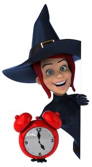 Ilustração 3d da bruxa ruiva