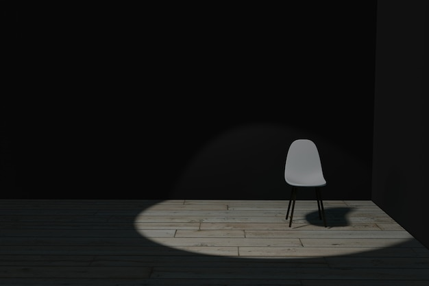 Ilustração 3d da cadeira no quarto escuro com holofotes