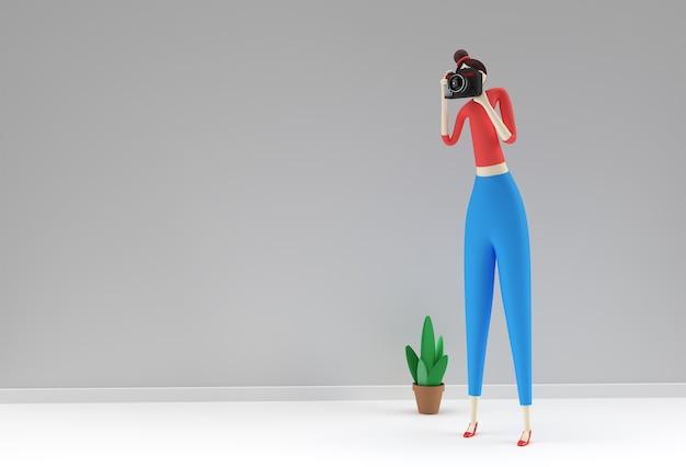 Ilustração 3d da câmera de exploração feminina em pé dos desenhos animados, tirando fotos, design de renderização 3d.