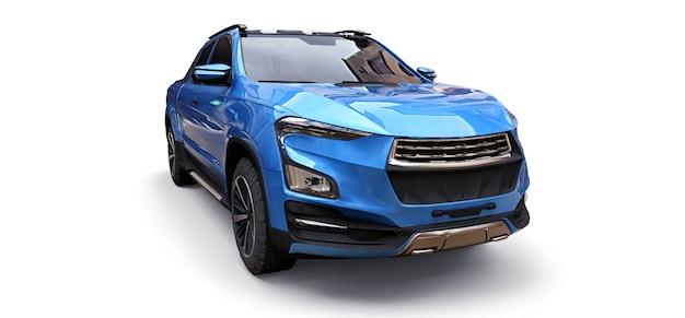 Ilustração 3d da caminhonete de carga conceito azul sobre fundo branco isolado. renderização 3d.