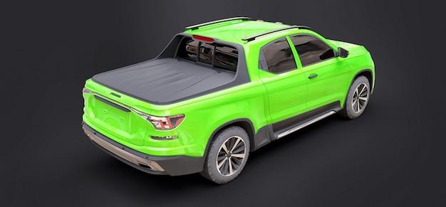 Ilustração 3d da caminhonete de carga conceito verde em fundo cinza isolado. renderização 3d.