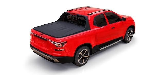 Ilustração 3d da caminhonete de carga conceito vermelho sobre fundo branco isolado. renderização 3d.