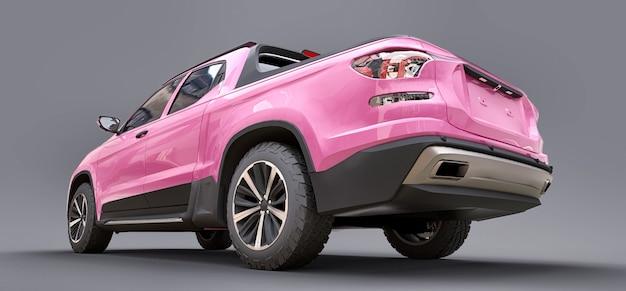 Ilustração 3d da caminhonete rosa conceito carga sobre fundo cinza isolado. renderização 3d.
