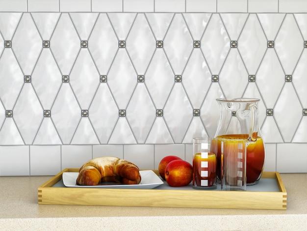 Ilustração 3d da cozinha branca no estilo clássico