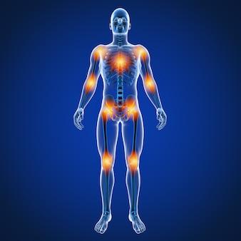 Ilustração 3d da dor nas costas masculina nas costas
