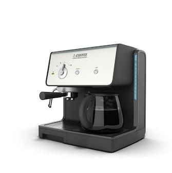 Ilustração 3d da elegante máquina de fazer café expresso que faz duas xícaras de café, isolada no fundo branco