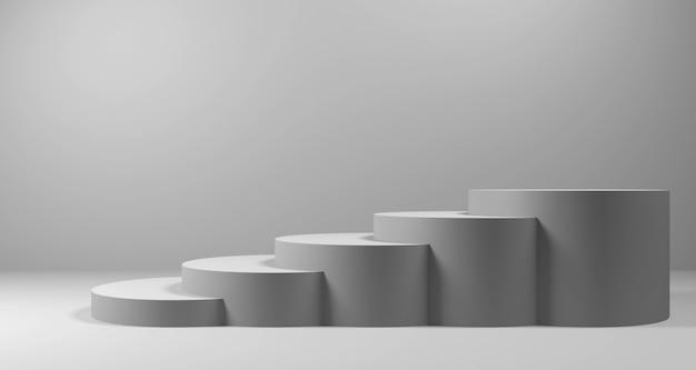Ilustração 3d da escada cinza para exposição do produto