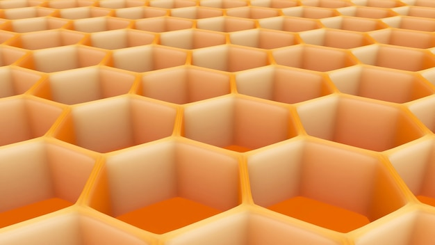 Ilustração 3d da estrutura de favo de mel abstrata hexagonal.