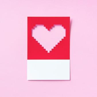 Ilustração 3d da forma do coração de pixelated