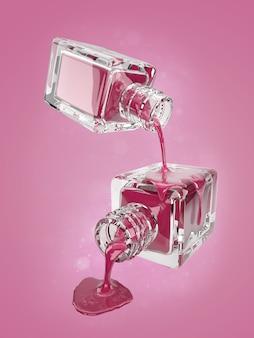 Ilustração 3d da garrafa de vidro cosmético com gotas de rosa