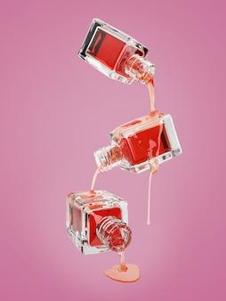 Ilustração 3d da garrafa de vidro cosmético com gotas vermelhas transparentes