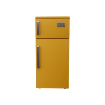 Ilustração 3d da geladeira. ícone de refrigerador amarelo 3d isolado.