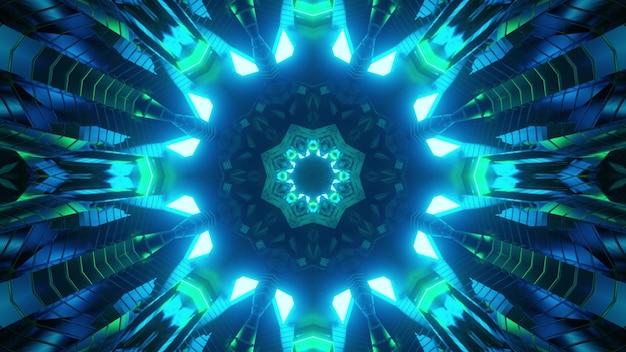 Ilustração 3d da iluminação de néon azul brilhante no padrão simétrico do caleidoscópio na escuridão