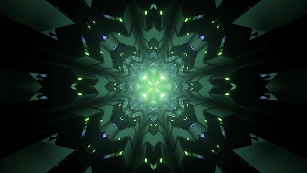 Ilustração 3d da iluminação simétrica de néon do ornamento do caleidoscópio brilhando no túnel escuro como fundo abstrato