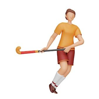 Ilustração 3d da jogadora de hóquei segurando a vara no fundo branco.