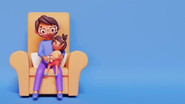 Ilustração 3d da linda garota dando um presente para seu pai no sofá e espaço de cópia.