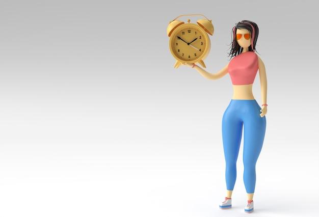 Ilustração 3d da mão de uma mulher em pé segurando o relógio de pulso, 3d render design.