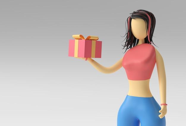 Ilustração 3d da mão de uma mulher em pé segurando uma caixa de presente, 3d render design.