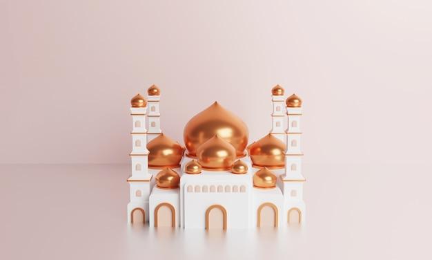 Ilustração 3d da mesquita islâmica com cúpula dourada