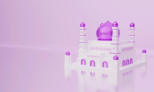 Ilustração 3d da mesquita islâmica com cúpula roxa