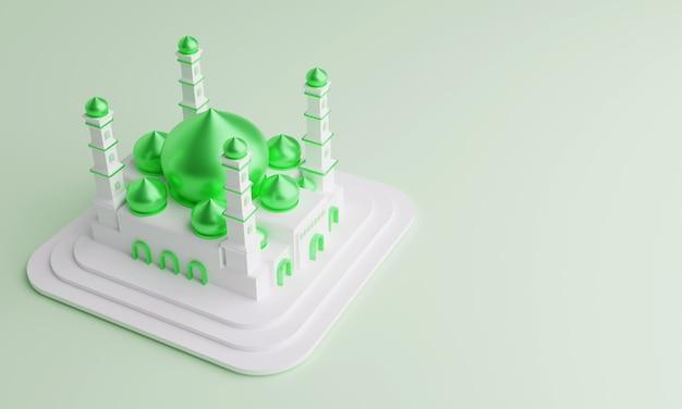 Ilustração 3d da mesquita islâmica com cúpula verde