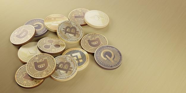 Ilustração 3d da moeda digital bitcoin criptomoeda