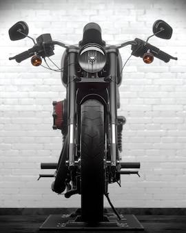 Ilustração 3d da motocicleta harley no fundo da parede de tijolos brancos