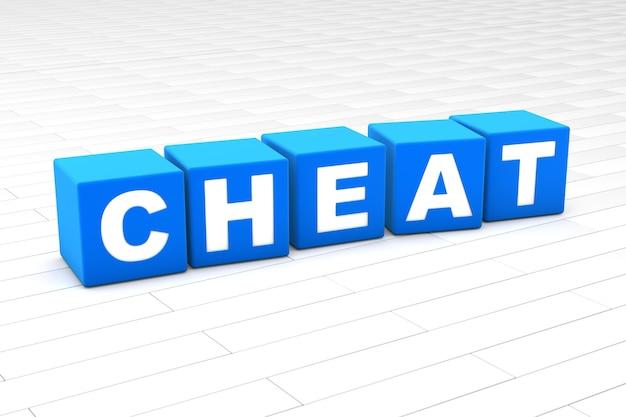 Ilustração 3d da palavra cheat
