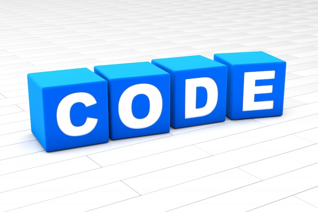 Ilustração 3d da palavra código