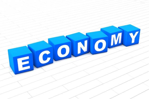 Ilustração 3d da palavra economia