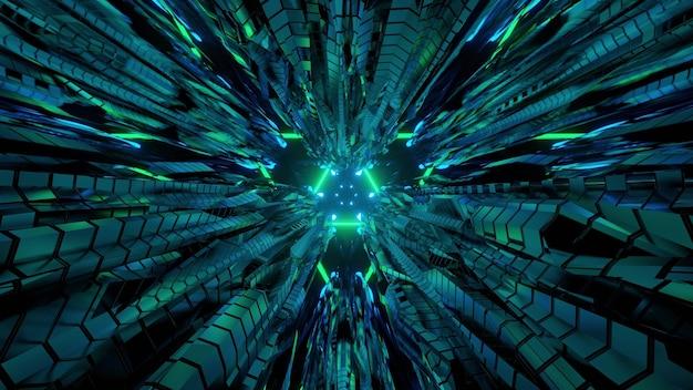 Ilustração 3d da perspectiva do túnel virtual com interior em forma de triângulo e painéis metálicos refletindo luzes de néon verdes para um fundo futurista abstrato