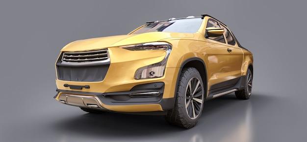 Ilustração 3d da picape de carga conceito amarelo em superfície cinza isolada