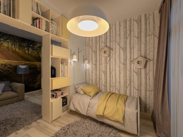 Ilustração 3d da sala de estar combinada e do berçário