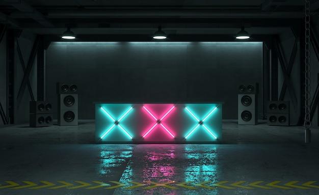 Ilustração 3d da sala de fábrica com mesa para júri ou dj à noite com luzes de néon