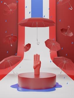 Ilustração 3d da saudação de três dedos para democrática na tailândia
