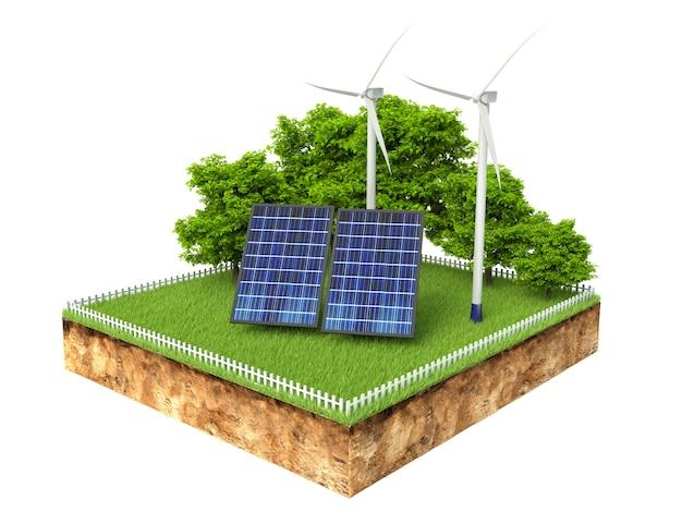Ilustração 3d da seção transversal do solo com painéis solares, isolado no branco