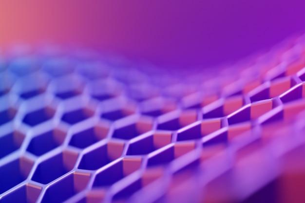 Ilustração 3d da superfície de onda geométrica do hexágono rosa e azul. ilustração 3d de um favo de mel monocromático favo de mel para o mel. padrão de formas hexagonais geométricas simples