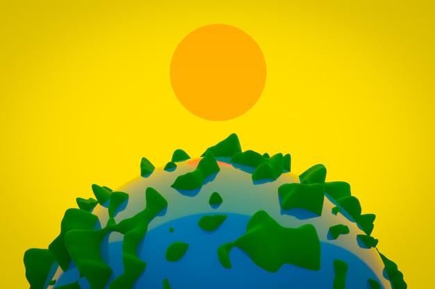 Ilustração 3d da terra do planeta com florestas volumosas e água sob o sol amarelo brilhante.