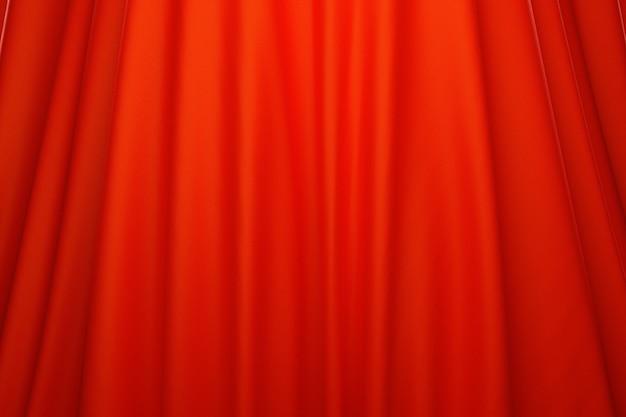 Ilustração 3d da textura de um tecido vermelho natural com dobras. abstrato de close-up de tecido natural bonito. cortinas vermelhas, cortina de palco