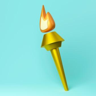 Ilustração 3d da tocha olímpica dourada