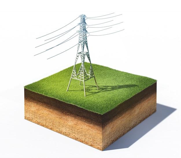 Ilustração 3d da torre elétrica de alta tensão em uma seção transversal do solo com grama isolada no branco