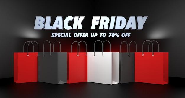 Ilustração 3d da venda da black friday