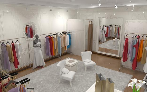 Ilustração 3d da visualização do interior da loja de roupas