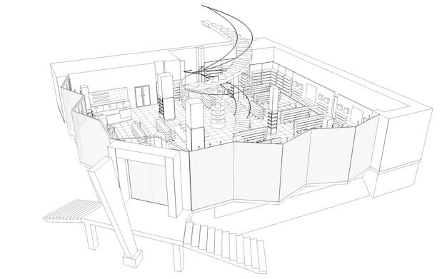 Ilustração 3d da visualização do interior da loja nas instalações comerciais