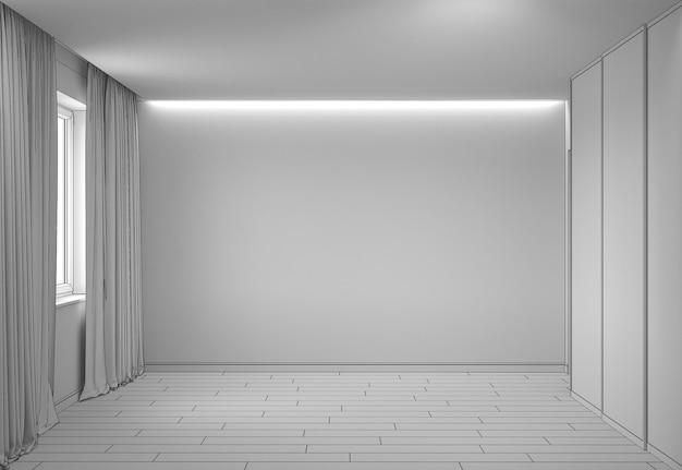 Ilustração 3d da visualização do interior do pavilhão vazio