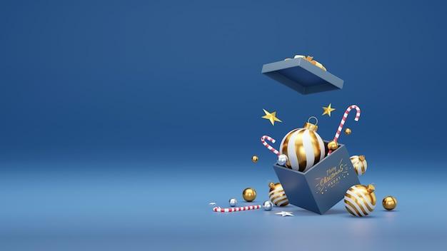 Ilustração 3d das decorações festivas de natal