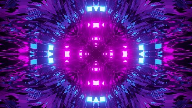 Ilustração 3d de abstração de fractal futurista multicolorido criativo com luzes de néon brilhantes em movimento