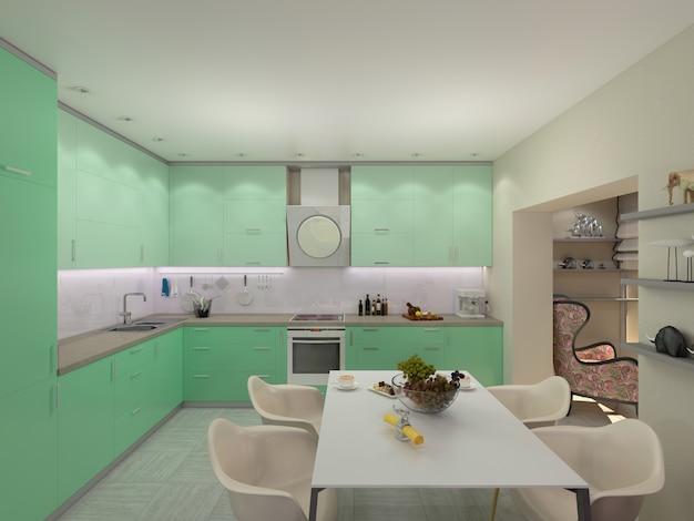 Ilustração 3d de apartamentos pequenos em cores pastel. modo verde