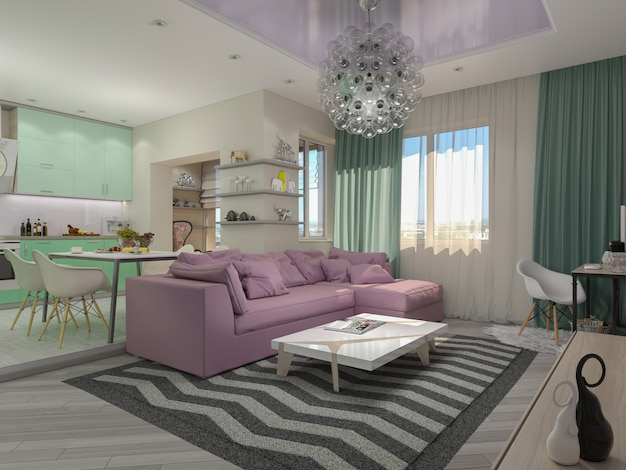 Ilustração 3d de apartamentos pequenos em cores pastel.