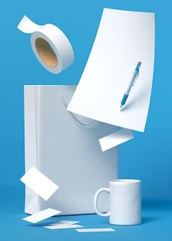 Ilustração 3d de artigos de papelaria